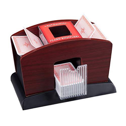 Relaxdays, 16 x 23,5 x 13,5 cm Barajador Eléctrico para 4 Barajas de Cartas, DM y Plástico, Negro y marrón