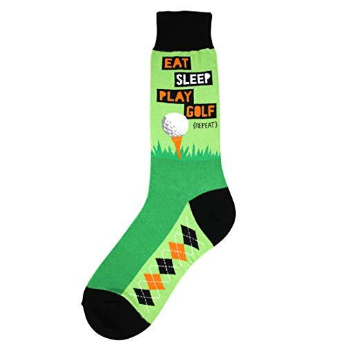 Foot Traffic, Men's Sports-Themed Socks, Eat Sleep Golf (Men's Shoe Sizes 7-12)