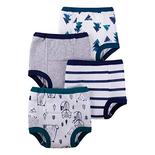 Lamaze Organic Baby Boys' Baby Reusable and Washable Toddler Potty Training Pants, Cotton Cloth, 4 Pack, Blue/White/Animal, 18 Months