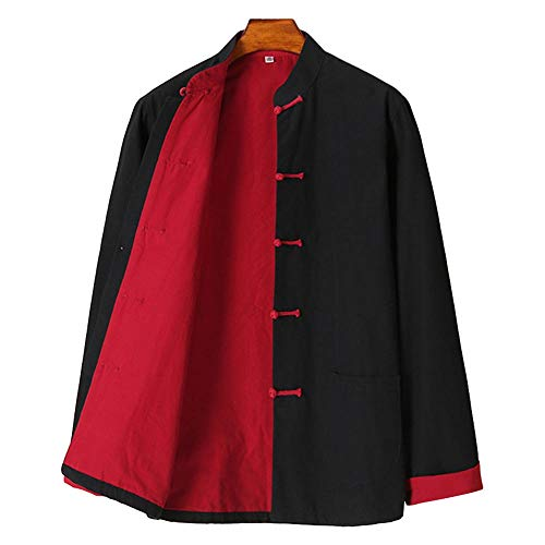 G-like Chinesische Kampfkunst Herren Jacke – Traditionelle Uniform Oberbekleidung für Kampfsport Kung Fu Tai Chi Wushu Männer Frauen Tang Stil Frühling Herbst Kleidung - Baumwolle (Schwarz, L)