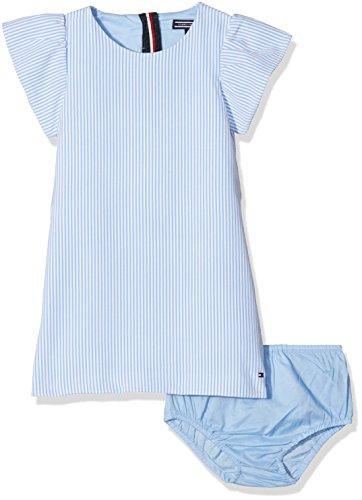 Tommy Hilfiger Mädchen C FINE Stripe Dress S/S Kleid, Blau (Serenity 413), 128 (Herstellergröße:8)