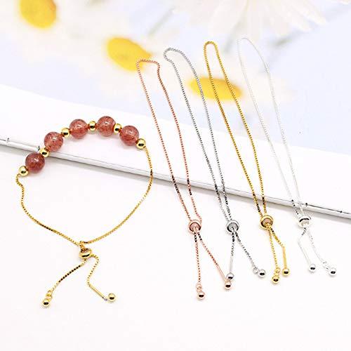 XNJHMS S925 Pure Silver Bead Screw Bracelet DIY Bracelet Silicone Adjustment String Bead Road Traffic Box Bracelet Chain 2PC,Gold