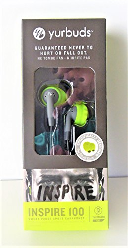 Yurbuds Inspire 100 In-Ear-Kopfhörer, geräuschisolierend, Grau / Grün