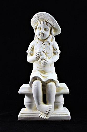 Large Cherub Garden Ceramic Ornament set Figure antique White little Girl
