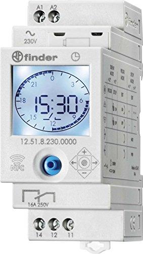 Finder 125182300000PAS Interrupteur horaire jour/hebdo digital 1 inverseur 16 A 230 AC