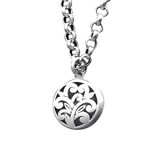 JWWOZ Silber Personalisierte runde Geschnitzte Damen-schöner Anhänger S925 Sterling Silber Schmuck Retro Halskette Ethnic Anhänger (ohne Kette)