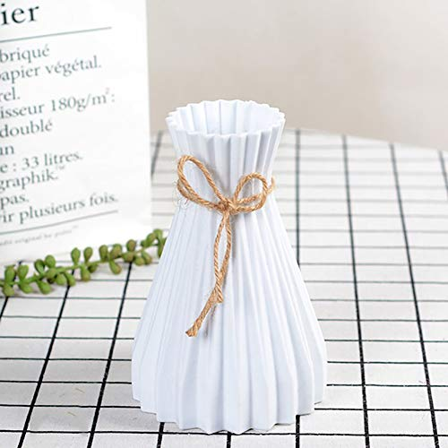 CCZMD Origami jarrón de Flores Sencilla decoración del hogar de la Flor de la simulación de simulación florero arreglo Arte jarrón de plástico,Blanco