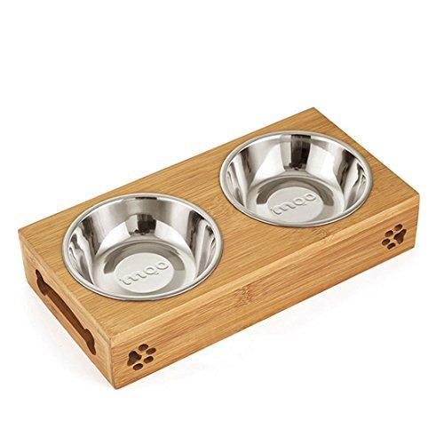Surui Futternäpfe Katzennäpfe Hundenäpfe Edelstahlschüssel und Bambus Ständer für Haustier, Hund und Katze Doppelt