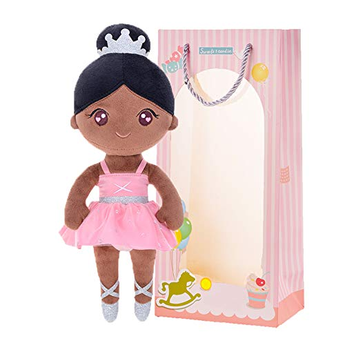 Gloveleya Baby Doll Girl Gifts Plush African American Doll Ballet Soft First Dolls Bronze 13'