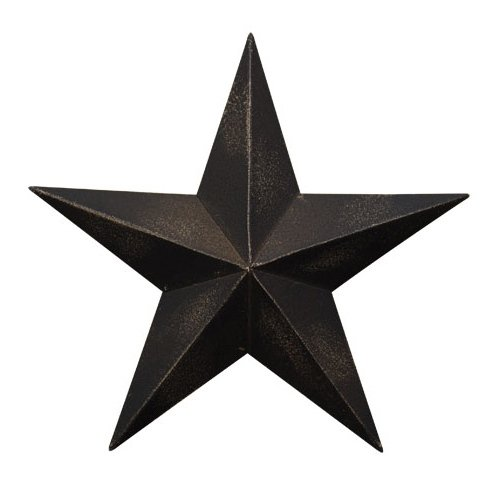 CWI Gifts 5.5' Antique Black Barn Star Wall Decor 4pc, inch