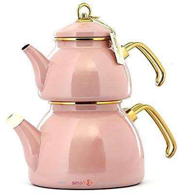 Vintage Enamel Turkish Teapot Samovar - Nostalgic Retro Samovar Kettle Special Design Midi Size Caydanlik 2 Lt (Pink)