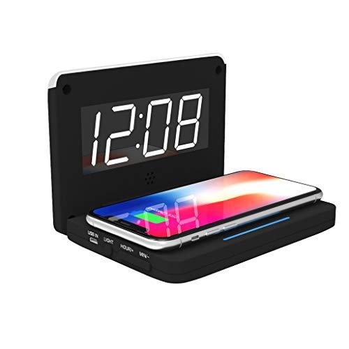Qi Fast Wireless Charger mit Digital LED und Wecker Funktion,10W Kabellos Laden Ladestation Ladegerät für Samsung Galaxy Galaxy S9/S9 Plus/S8/Note 8,für iPhone X/8/8 +