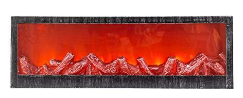 LED Tischkamin Kamin LED Laterne mit realistischer Flammensimulation schwarz/silber aus Kunststoff 60x20 cm