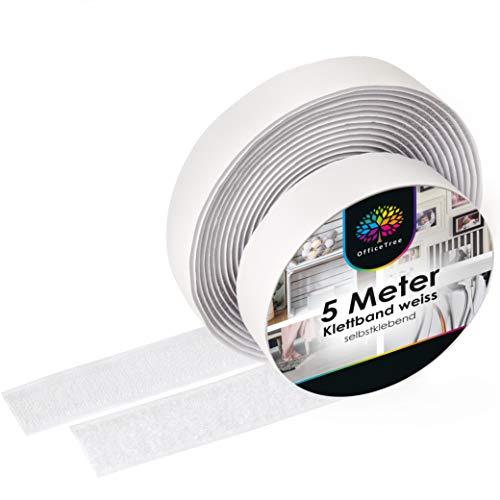 iLP Klettband Selbstklebend Weiß - 5 Meter Klebe Klettband zum Nähen - Klettverschluss Selbstklebend 20 mm Breit - Extra Stark - Je 1 Rolle Flauschband und Hakenband