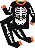 Little Boys Girls' Halloween Pajamas Sets Toddler Skeleton Pjs for Boy Jammies 100% Cotton Glow in The Dark Sleepwear Kids Clothes Sets Size 3T