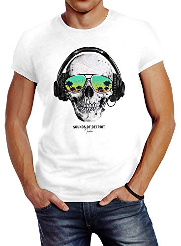 Neverless® Herren T-Shirt Totenkopf Kopfhörer Musik Party Skull Sonnenbrille Schädel Sounds of Detroit Music Slim Fit weiß L