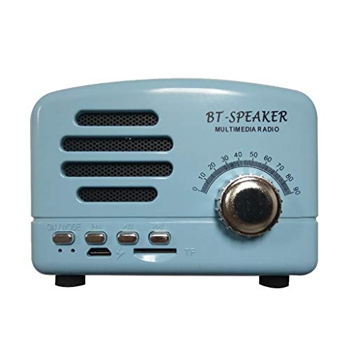 Equipo de sonido Lyl Subwoofer Retro con Radio Bluetooth, Mini Altavoz Creativo (Color : Blue)