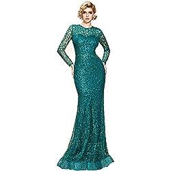 Blue O-Neck Long Sleeve Pattern Glitter Maxi Elegant Dress