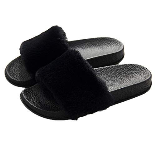 Faux Fur Slides Sandals for Women Girls Slip On Summer Furry Slippers Flip Flops Shoes Flats Black 38