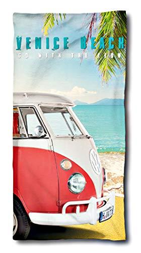 VW Bulli Handtuch 75x150 cm | VW Bulli Geschenke | VW Bus Badetuch Baumwolle | Camping Strandtuch Volkswagen T1 T2 T3
