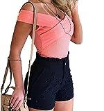 Color SóLido BotóN De Cintura Alta con Volantes con Cuentas Pantalones Cortos De Verano para Mujer BotóN con Volantes Pantalones Cortos De Verano con Cuentas para Mujer