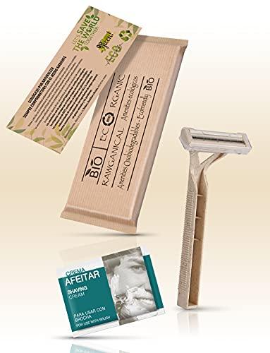 50 Sets de Afeitado para Hoteles | Kit de Afeitado Ecológico Envuelto Individualmente | Para Hoteles, Viajes y Huéspedes | 50 Kits