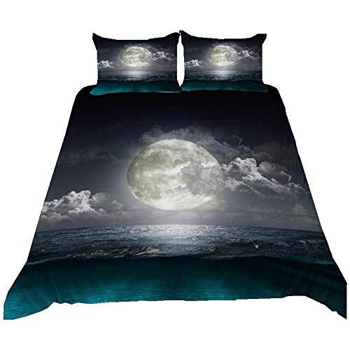 Duvet Cover Microfiber Bedding Set Night Sky Ocean Sun Moon Lake Printing Child Girl Duvet Covers Pillowcases (Colour 4,220 × 240 cm)