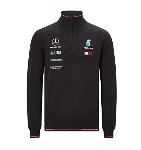 MAMGP 2019 Mercedes-AMG F1 - Jersey de Punto con Media Cremallera para Hombre, diseño de Equipo de Fórmula 1, Producto Oficial de Lewis Hamilton, Color Negro, tamaño Mens (M) Chest 96-100cm