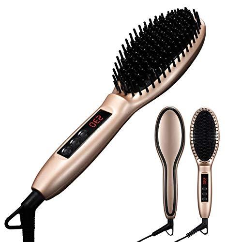 XASY Stylingbürste, Elektrische Haarglätter Keramik Bürste Glätteisen Anion Antistatische Haarpflege mit Warmluft und LCD