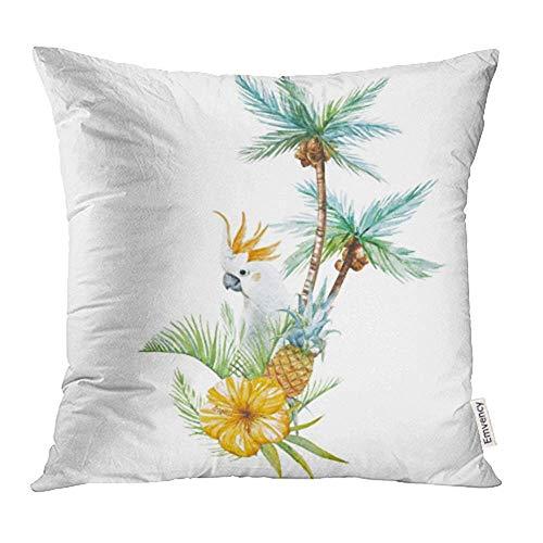 okstore1988 Funda de cojín decorativa con diseño de acuarela de palmeras tropicales con loro y piña naranja de 45,7 x 45,7 cm, fundas de almohada cuadradas, fundas de almohada por un lado