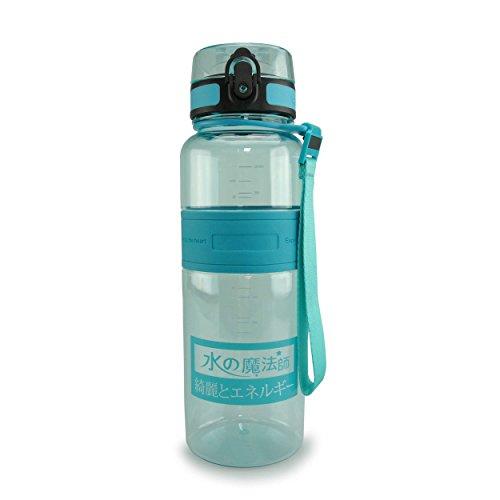 SMARDY Tritan Botella de Agua para Beber -Turquesa - 1000ml - de plástico sin BPA - Tapa de un Clic - fácil de Abrir - ecológica - Reutilizable