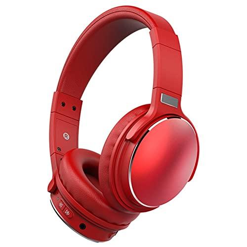 ZRL Cascos Gaming Auriculares Bluetooth inalámbricos sobre Auriculares para la Oreja V5.0 con micrófono Plegable y liviano para celulares portátil (Rojo/Negro) Headset (Color : Red)