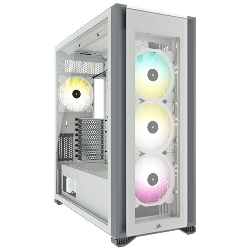 Corsair iCUE 7000X RGB Chasis para PC Inteligente ATX Full-Tower, Tres Paneles de Cristal Templado, Cuatro Ventiladores RGB de 140 mm Incluidos, Espacioso Interior, Blanco