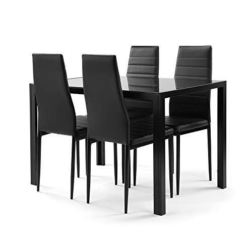 5 Pieces Dining Table Set Kitchen Room for Small Spaces Tempered Glass with 4 Faux Leather Chairs Home Furniture Rectangular Modern