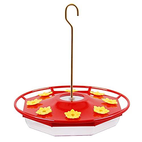 Brwoynn hummingbird feeder, 16 fluid ounces flower bird feeder with 8 feeding stations for outdoors