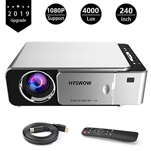 HYSWOW Movie Projector Full HD Mini Video Projector Support 1080P Home Theater & Movie Projector Office Business PowerPoint Presentations, Compatible Laptop, Smartphone, Fire TV Stick, PS4, USB