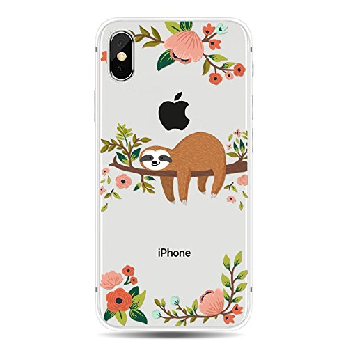 Blingy's iPhone X Case/iPhone Xs Case, New Cute Animal Style Transparent Clear Soft TPU Protective Case Compatible for iPhone X and iPhone Xs (Sleeping Sloth)