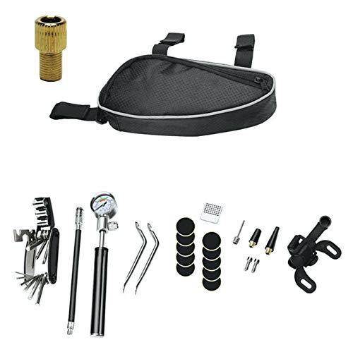 GIDup Fahrrad Reparatur Set - Fahrrad Werkzeug Set mit Fahrrad Flickzeug - 16 in 1 Fahrrad Multitool - robuste Fahrrad Satteltasche mit hochwertiger Luftpumpe aus Aluminium im Fahrrad-Werkzeug Set