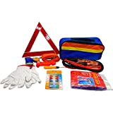 11-in-1-Auto-Notfall-Werkzeugset Pannenhilfe-Set Auto-Sicherheits-Set Pannenwerkzeug-Set mit Aufbewahrungstasche, Überbrückungskabeln, Abschleppseil, Warndreieck, Taschenlampe, Sicherheitshammer usw.