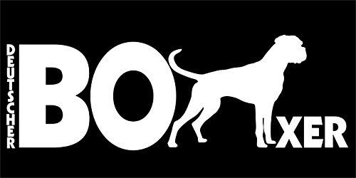 Holashirts Mallorca Deutscher Boxer Hunde-Folien-Aufkleber Car-Sticker freistehend ohne Hintergrund (250x85mm/weiß)