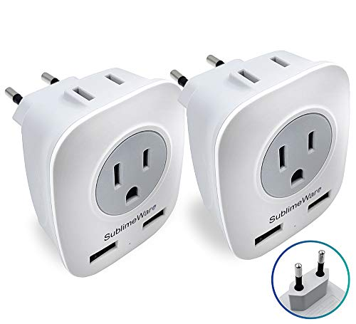 European Power Adapter (2 Pack) - w/ 2 USB Ports & 2 AC Outlets - USA to EU Outlet Plug - US to Europe Plug Adapter - Electrical Charger Travel Adapters for Europe - for EU Charging by SublimeWare