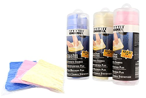 CARALL Kit 3 piezas de paños sintéticos de piel de ciervo de gran tamaño 43x32cm Secado de coche súper potente absorbente rosa amarillo azul