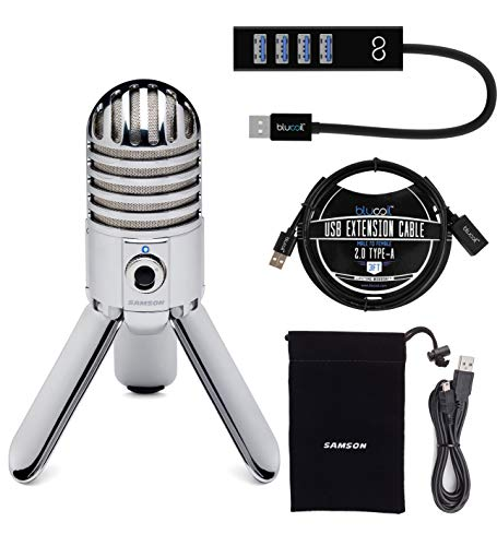 Samson Meteor Mic USB Studio Condenser Microphone with Mute Switch for Windows and Mac (Chrome) Bundle with Blucoil 3-FT USB 2.0 Type-A Extension Cable, and Mini USB Type-A Hub with 4 USB Ports