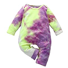 ♬Fashion tie dye clothes for baby girl boy,made of cotton blend,soft and comfortable fabric,good in stretchy,excellent workmanship,not irriating to babies delicate skin,recommend handwash separately,hang dry and do not bleach. ♬Adorable ribbed baby c...