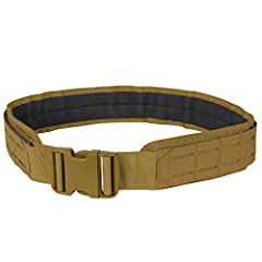 2 QD buckle 2 wide belt webbing throughout can be used as two belt system Laser cut slots for modular attachment Reinforced with scuba webbing Removable inner anti-slip pad