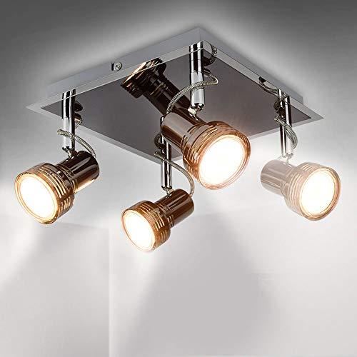 LED Deckenlampe Schwenkbar Wohnzimmer Modern Deckenleuchte 4x 3W GU10 Flammige Spotleuchte, 3000K Warmweiß 960 Lumen, Deckenstrahler LED Deckenspot für Küche, Schlafzimmer, Büro