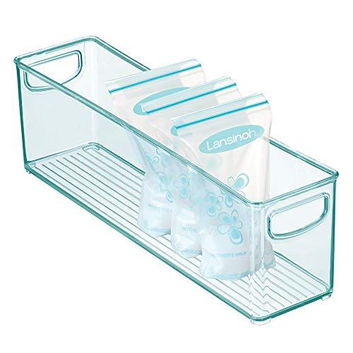 mDesign Cajones de plástico sin BPA para Alimentos Infantiles – Organizador de Cocina con Asas – Práctica Caja de almacenaje para Bolsas de Leche Materna – Azul Claro