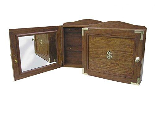 Maritimer Schlüsselkasten aus Edelholz mit Spiegel auf der Innenseite