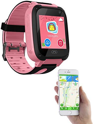 TrackerID Handy Uhr Kinder: Kinder-Smartwatch mit Telefon, Kamera, Chat- und SOS-Funktion, rosa (Telefon Uhr Kinder)