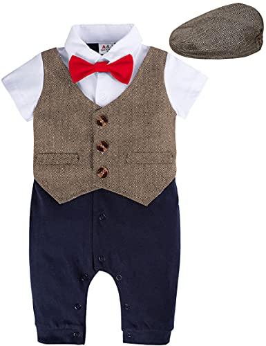 A&J DESIGN Newborn Boy Outfits 0-3 Months Infant Gentleman Bowtie Tuxedo with Hat Brown